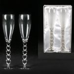 Two Silverplated Champagne Flutes Heart Stems Wedding Anniversary Gift